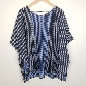 The Limited Navy Blue Striped Duster Cardigan